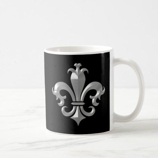 Fleur De LIs Fancy Silver Bevel Saints Classic Coffee Mugs