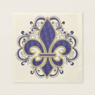 Fleur de Lis Fine Vintage Floral Disposable Serviette