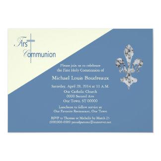 Fleur de Lis First Communion Invitation