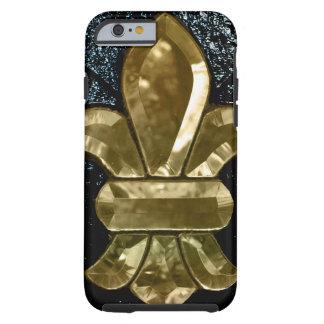 Fleur De Lis Flor  New Orleans Gold Black Tough iPhone 6 Case