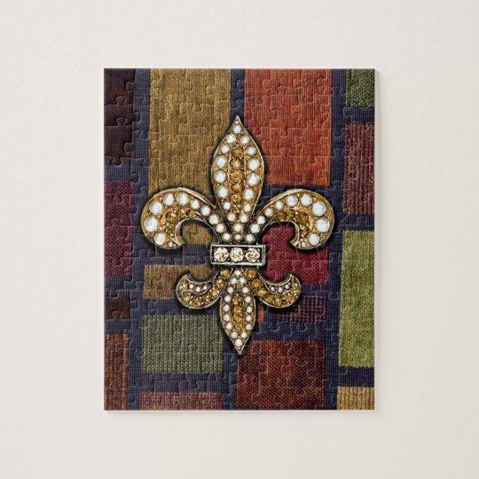 Fleur De Lis Flor  New Orleans Jewel Sparkle Patch Jigsaw Puzzle