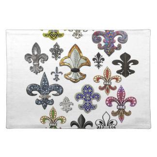 Fleur De Lis Flor  New Orleans Jewel Sparkle Placemat