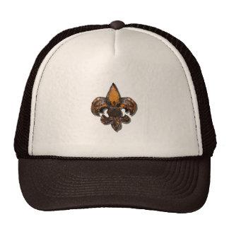 Fleur De Lis Flor  New Orleans Rustic Mesh Hats