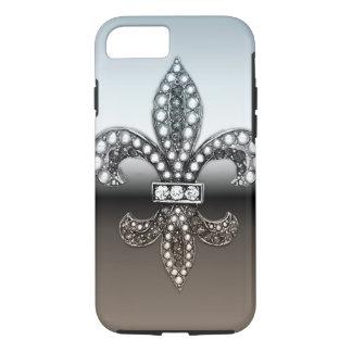 Fleur De Lis Flor New Orleans Silver Black iPhone 8/7 Case