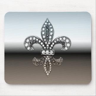 Fleur De Lis Flor  New Orleans Silver Black Mouse Pad