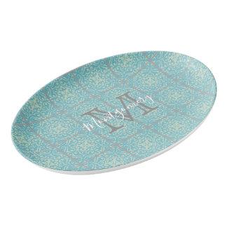 Fleur-de-lis Floral Tile Pattern Serving Platter