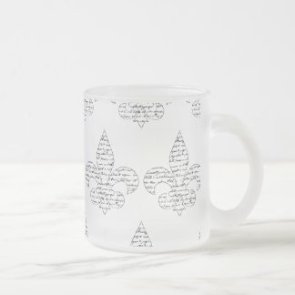 Fleur de Lis French Script Frosted Glass Mug