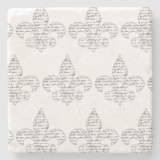 Fleur de Lis French Script Stone Coaster