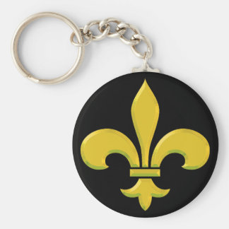 fleur-de-lis Gold Bevel Key Ring