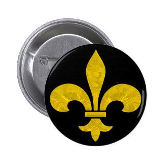 Fleur De Lis Gold Leaf Cut 6 Cm Round Badge