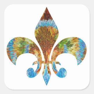 Fleur de Lis :  Gold n Silver Engraved Square Sticker