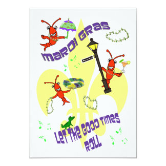 Fleur de Lis Good Times Roll Mardi Gras Party 5x7 Paper Invitation Card