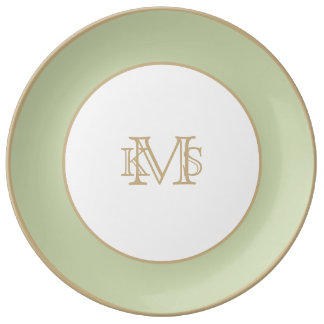 Fleur de Lis Green for French Chateau Wedding Porcelain Plate