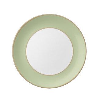 Fleur de Lis Green for French Chateau Wedding Porcelain Plates