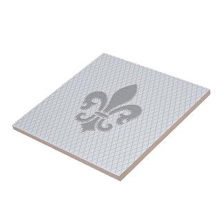 Fleur de Lis Grey Lilac Diamond Pattern Small Square Tile
