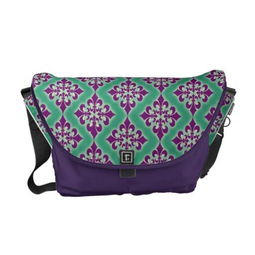 Fleur de Lis Handbag in Mardi Gras Colors Courier Bag