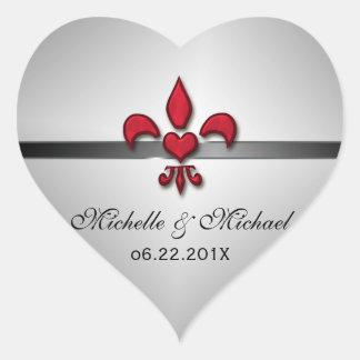 Fleur de Lis Heart Wedding Heart Sticker