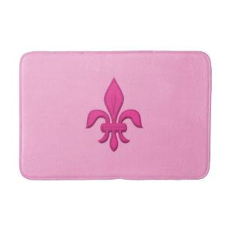 Fleur de Lis in Fuchsia Pink on Light Pink Bath Mat