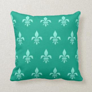 Fleur de Lis in Light Aqua on Turquoise Cushion