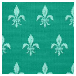 Fleur de Lis in Light Aqua on Turquoise Fabric