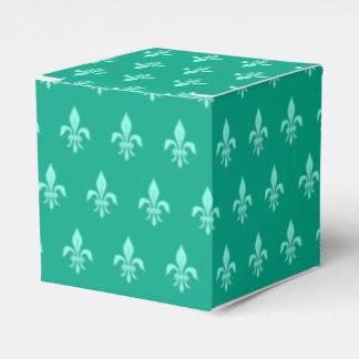 Fleur de Lis in Light Aqua on Turquoise Favour Box