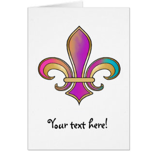 Fleur de Lis in shaded rainbow colors  - 2 Card