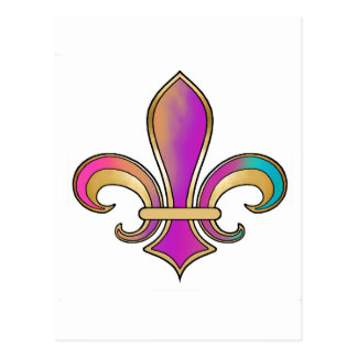 Fleur de Lis in shaded rainbow colors  - 2 Postcard