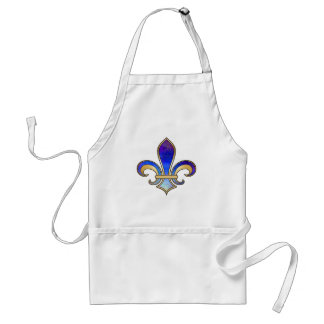 Fleur de Lis in shaded rainbow colors  - 8 Standard Apron