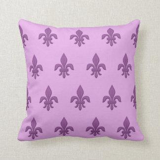 Fleur de Lis in Violet Purple on Lavender Cushion