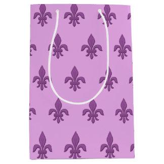 Fleur de Lis in Violet Purple on Lavender Medium Gift Bag