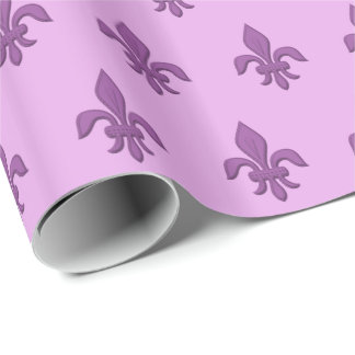 Fleur de Lis in Violet Purple on Lavender Wrapping Paper