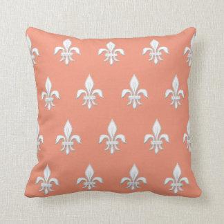 Fleur de Lis in White on Light Coral Pink / Peach Cushion