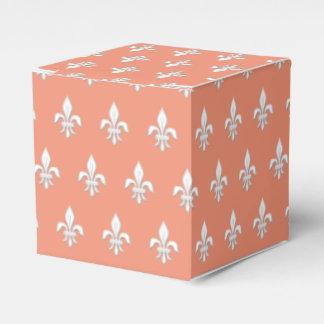 Fleur de Lis in White on Light Coral Pink / Peach Favour Box