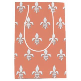 Fleur de Lis in White on Light Coral Pink / Peach Medium Gift Bag