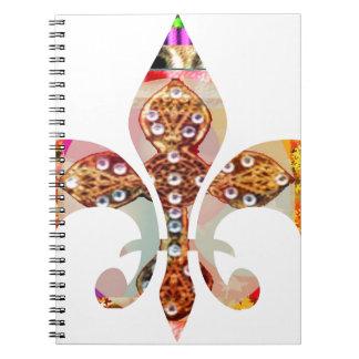 Fleur de lis Jewel Pattern Flowers Floral Gems fun Spiral Notebook