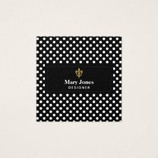 Fleur De Lis Label With White Polka Dots Square Business Card
