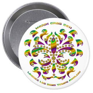 Fleur de lis Mardi Gras 2011 V-1 Pinback Buttons