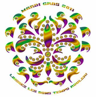 Fleur de lis Mardi Gras 2011 V-1 Photo Sculpture Badge