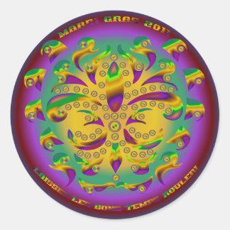 Fleur de lis Mardi Gras 2011 V-1 Round Sticker