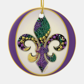 Fleur de lis Mardi Gras beads Ceramic Ornament