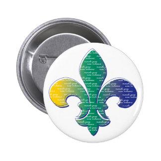 Fleur De Lis Mardi Gras New Orleans Pinback Button