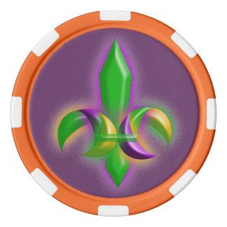 Fleur de lis Mardi Gras Style Party Poker Chips