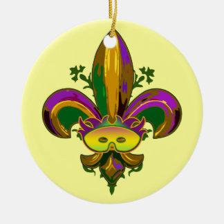 Fleur de lis Mask Ceramic Ornament
