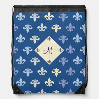 Fleur de Lis - monogram Drawstring Bag