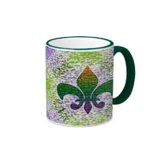Fleur de Lis Mosaic Ringer Coffee Mug
