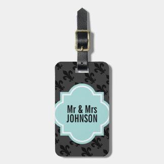 Fleur de lis Mr and Mrs travel luggage tags