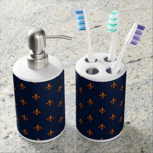 Attirant Fleur De Lis: Navy Blue U0026 Orange Bathroom Set