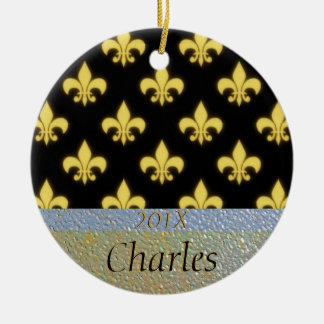 Fleur de Lis New Orleans Black Gold Personalized Ceramic Ornament