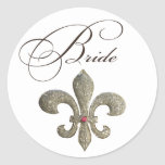 Fleur de lis NOLA Bride Bling Round Sticker