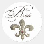 Fleur de lis NOLA Bride Bling Round Stickers